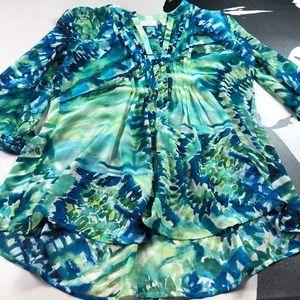 Chico's Blue Green Tie Dye Print  Blouse